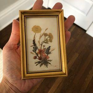 Antique gold framed dried flowers art